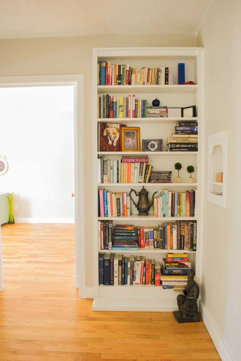 Built-in with books and mementos.