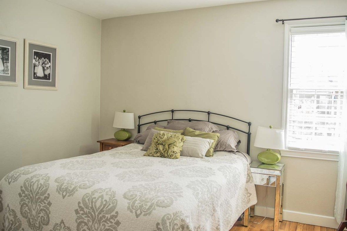 Bed and nightstands in the master bedroom.