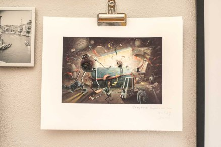 "A print of Chih-Yung Wang's ""The Gift Box Series No. 1"" hangs on the wall in Stephanie's office."