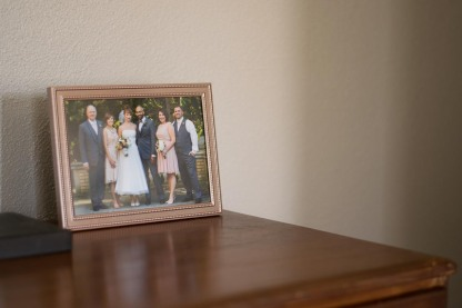 A framed photo of Stephanie and Jason's wedding.