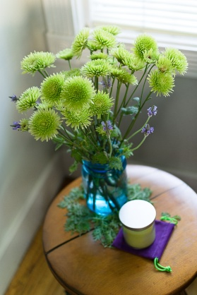 Green Flowers on a sidetable.