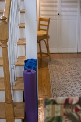Yoga mats by the stairs