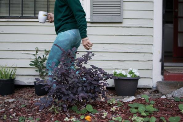 Cindy waters her garden.