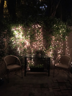 Cindy's patio sparkles at night